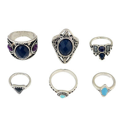 6Pcs Ethnic Women Crystal Mid Ring Bohemian Joint Knuckle Nail Midi Ring Set