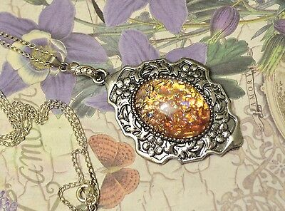 Huge Peach Pink Fire Glass Opal Antique Silver Art Deco Style Pendant Necklace