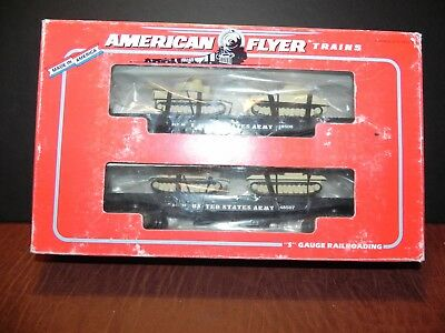 AMERICAN FLYER by LIONEL 48507 US ARMY FLATCAR w/TANKS (2 pack)  ~ New in Box