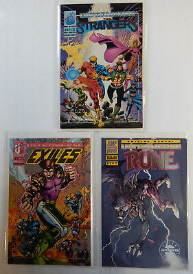 """Lot Of 3 ULTRAVERSE Exile-Rune-Strangers Silver Foil """"Limited Edition 5000"""""""