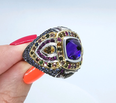 Multi-coloured, Multi-gemstone Ring, Size 8 US, Sterling Silver ♡