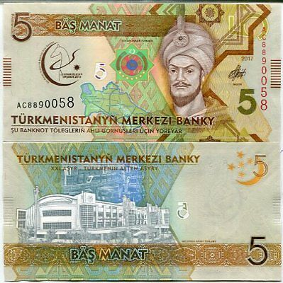 TURKMENISTAN 5 MANAT 2017 P NEW COMM. 5th Asian indoor Marial Game UNC