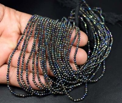 """2 mm 13"""" Natural 5 Line of Coated Pyrite Beads Strand"""