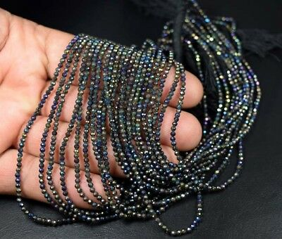 """2 mm 13"""" Natural 50 Line of Coated Pyrite Beads Strand"""