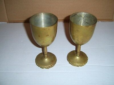 Old Vintage Brass Goblets Marked Hecho en Mexico