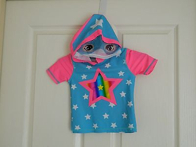 Baby Girl Hooded Short Sleeve Swimwear Top Blue/Pink Size 0 UPF 50+