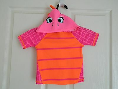 Baby Girl Short Sleeve Hooded Pink/Orange Swimwear Top Size 0 UPF 50+