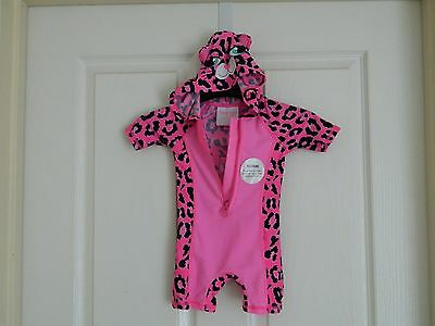 Baby Girl Hooded Pink Short Sleeve Swimwear Size 0 UPF 50+