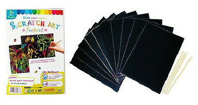 Plain Scratch Art Kit (10 cards + 4 sticks) for party, fete, holiday program ...