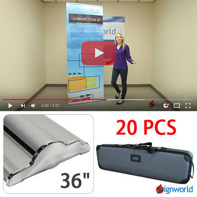 "Retractable Roll Up Banner Stand Height Adjustable Display Sign HD 36"" 20 PCS"