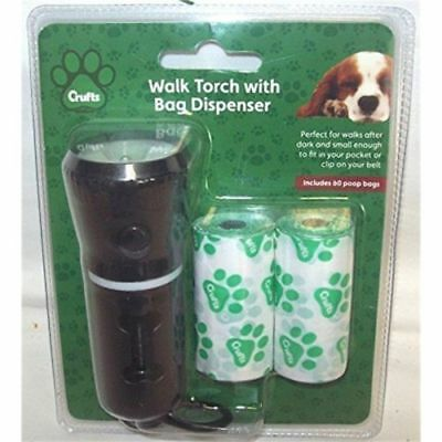 Crufts 2 In 1 Pet Dog Walking Hand Torch With Poo Bag Dispenser Handle 40 Bags
