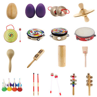 Baby Kids Hand Percussion Hand Bell Rattle Drum Cymbal for Music Leanring Toys