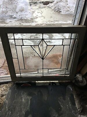 Antique Architectural American Heavy Beveled Art Deco Tulip Leaded Glass Window