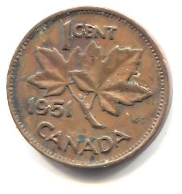 1951 Canadian 1 Cent Maple Leaf Penny Coin - Canada - King George VI