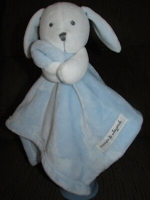 Blankets & Beyond Blue and White Bunny Rabbit Nunu Security Baby Blanket