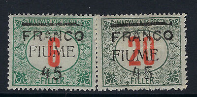 FIUME :1919 Overprint on Hungary 45 on 6 +45 on 20 Postage Due  SG 30/1 mint