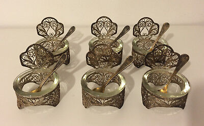 LOT 6 old Russian Silver Filigree & Glass bowls (salt dish) Bowls with spoons