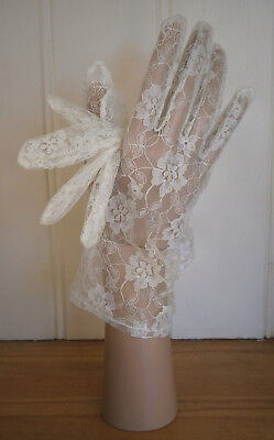 Vintage Ivory Floral Lace Wrist Length Stretch Nylon Gloves Wedding Party