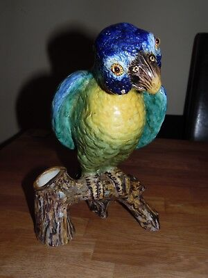Antique Majolica Parrot With Glass Eyes Monogramed Gj And Attribute George Jones