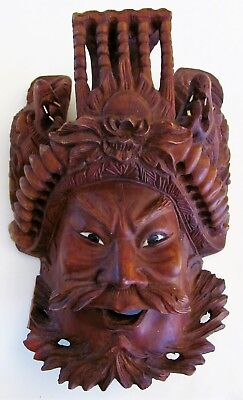 Antique VTG Chinese Emperors Mask Hand Carved Rosewood w Dragons Glass Eyes