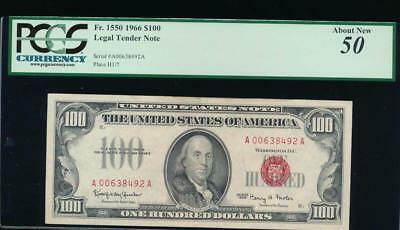 AC 1966 $100 Legal Tender PCGS 50 comment Fr 1550 .. beautiful red seal
