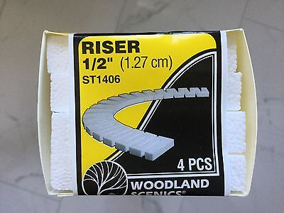 "Woodland Scenics 1/2"" Risers 4 Pk Each Measures 1/2"" x 2-1/2"" x 24"" # ST1406"