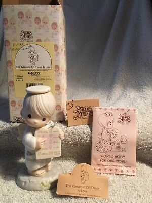 """""""Precious Moments"""" 1989 'The Greatest Of These Is Love' 521868 Figurine -Bow"""