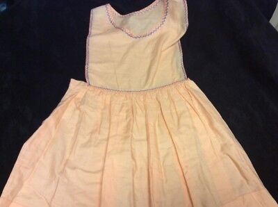 Childs Vintage 1940s 1950s Peach Pinafore Dress, Embroidery