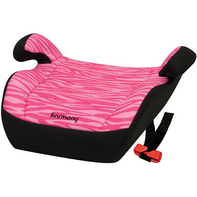 Harmony Youth Booster Car Seat with Backless Pink Girls Zebra Vehicle Safety