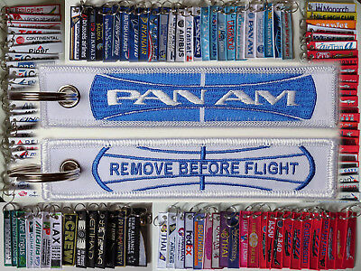 Keyring PAN AM Airlines GLOBE logo Remove Before Flight baggage tag keychain