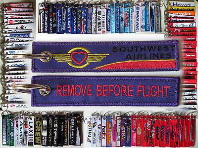Keyring Southwest Airlines Remove Before Flight tag keychain PURPLE HEART