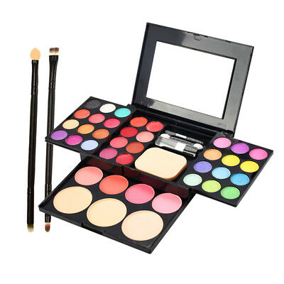 Eyeshadow Powder Palette Cheek Blusher Facial Concealer Bronzer with Brushes