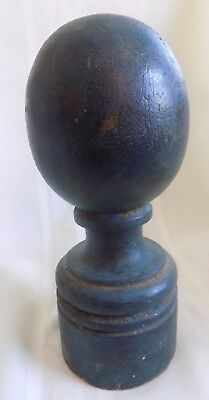 ANTIQUE Country PRIMITIVE Wood NEWEL POST #5 EARLY Blue Green PAINT