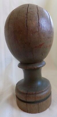ANTIQUE Country PRIMITIVE Wood NEWEL POST #4 ORIGINAL Light Green PAINT