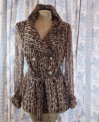 Vintage Leopard Print Top/jacket Sheer Sleeves New York Extremes Size 10 USA