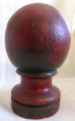 ANTIQUE Country PRIMITIVE Wood NEWEL POST #2 ORIGINAL Red & Green PAINT