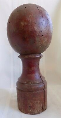 ANTIQUE Country PRIMITIVE Wood NEWEL POST #1 ORIGINAL Red PAINT
