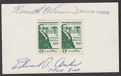 3x5 card engravers autographed United States 6¢ Daniel Webster Stamp Scott 1380