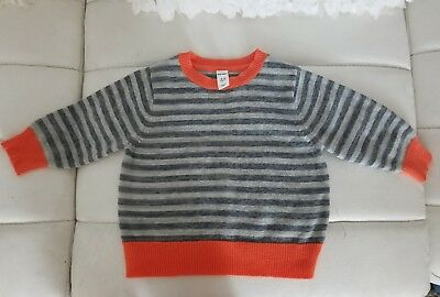 Old Navy Baby Boys 12-18 Months Orange Gray Black Pullover Sweater