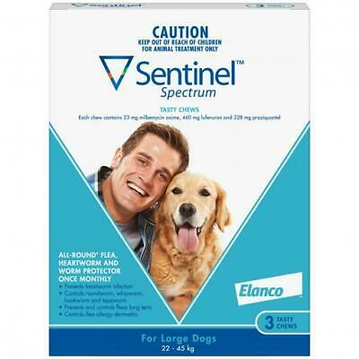 NEW Sentinel Spectrum 6-Pack Flea Tick Treatment Tasty Chews for Large Dogs