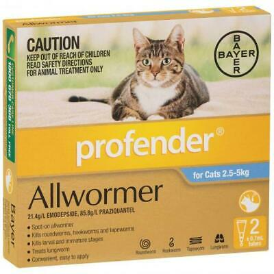 NEW Profender Topical Allwormer Treatment for Cats between 2.5kg - 5kg