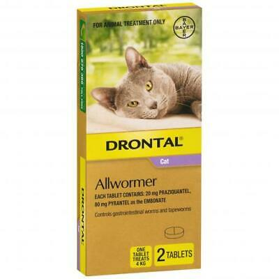 NEW Drontal Ellipsoid Allwormer for Cats and Kittens 4kg 2 pack