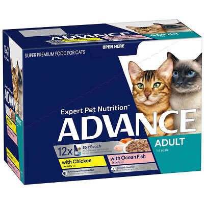 NEW ADVANCE 1+ Years Adult Cat Multi Pack Tender Chunks in Jelly