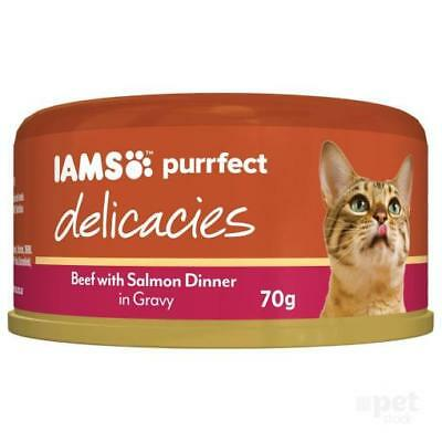 NEW IAMS Purrfect Beef with Salmon Dinner in Gravy 70g