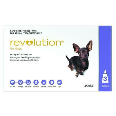 NEW Revolution for Dogs 2.6-5kg - Purple 6 pack  + Canex Intestinal Wormer