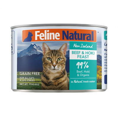 NEW Feline Natural Grain Free Canned Cat Food - Beef and Hoki