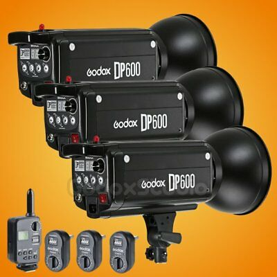 3X Godox DP600 600Ws Studio Lighting Strobe Flash Light Head + FT-16 Trigger Kit