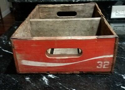 Wooden Coca-Cola Crate Vintage Wood Box Carrier Soda Pop Coke Collectible