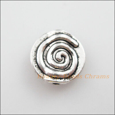 8Pcs Tibetan Silver Tone Rotating Round Flat Spacer Beads Charms 12mm
