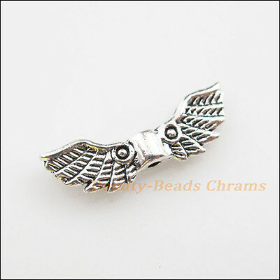 8Pcs Tibetan Silver Tone Angel Wings Spacer Beads Charms 7x22mm